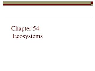 Chapter 54:  Ecosystems