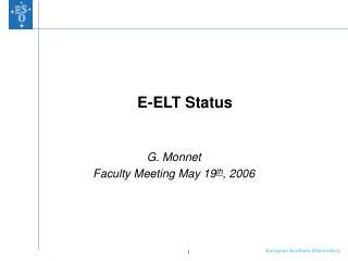 E-ELT Status