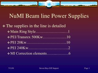 NuMI Beam line Power Supplies
