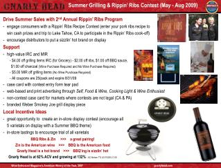 Summer Grilling & Rippin� Ribs Contest (May - Aug 2009)