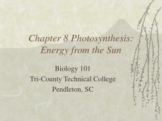 Chapter 8 Photosynthesis: Energy from the Sun