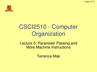 CSCI2510 - Computer Organization