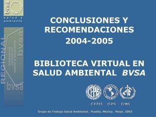 CONCLUSIONES Y RECOMENDACIONES  2004-2005 BIBLIOTECA VIRTUAL EN SALUD AMBIENTAL   BVSA