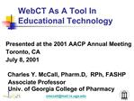 WebCT As A Tool In Educational Technology