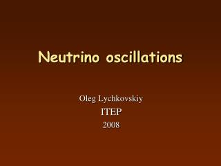 Neutrino oscillations