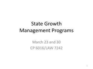State Growth Management Programs