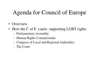 Agenda for Council of Europe