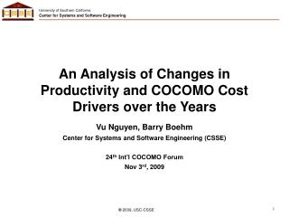 An Analysis of Changes in Productivity and COCOMO Cost Drivers over the Years