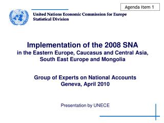 Group of Experts on National Accounts Geneva, April 2010 Presentation by UNECE