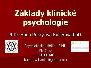 Z�klady klinick� psychologie