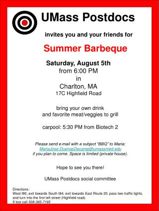 Saturday, August 5th from 6:00 PM  in Charlton, MA 17C Highfield Road