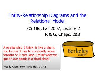 Entity-Relationship Diagrams and the Relational Model