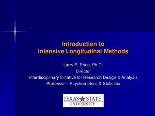 Introduction to  Intensive Longitudinal Methods