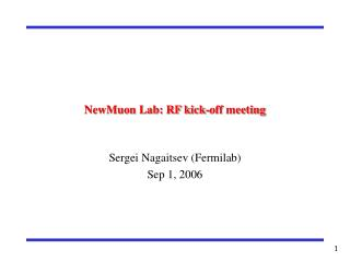 NewMuon Lab: RF kick-off meeting