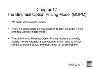 Chapter 17 The Binomial Option Pricing Model (BOPM)