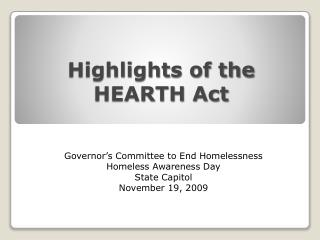 Highlights of the HEARTH Act