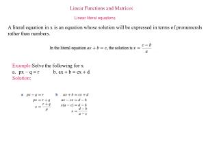 Linear Functions and Matrices