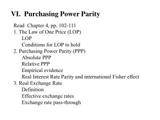 VI.  Purchasing Power Parity