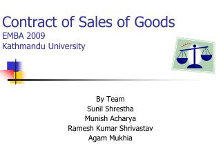 Contract of Sales of Goods EMBA 2009  Kathmandu University