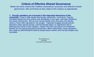 Criteria of Effective Shared Governance 1105 VINCE BUCK