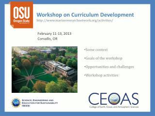 Workshop on Curriculum Development marineresearchnetwork/activities/