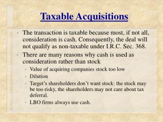 Taxable Acquisitions