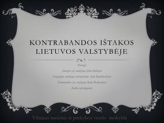 Kontrabandos ištakos Lietuvos valstybėje