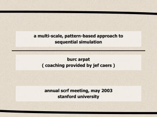 a multi-scale, pattern-based approach to sequential simulation