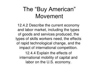 "The ""Buy American"" Movement"