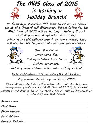 The MHS Class of 2015 is hosting a Holiday Brunch!
