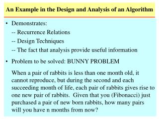 An Example in the Design and Analysis of an Algorithm