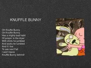 Oh Knuffle Bunny Oh Knuffle Bunny Has a mighty bad habit Of jumpin' in the dryer