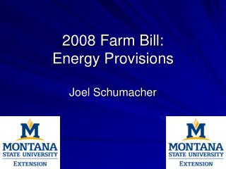 2008 Farm Bill: Energy Provisions Joel Schumacher