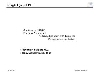 Single Cycle CPU
