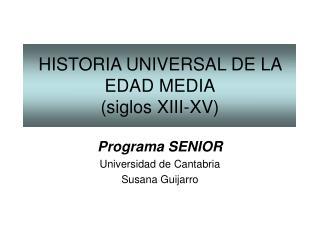 Programa SENIOR Universidad de Cantabria Susana Guijarro