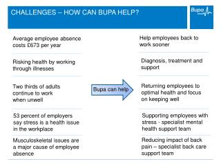 CHALLENGES � HOW CAN BUPA HELP?