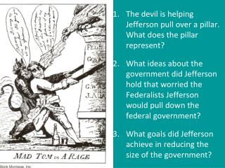 The devil is helping Jefferson pull over a pillar.  What does the pillar represent?