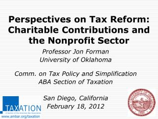 Perspectives on Tax Reform:  Charitable Contributions and the Nonprofit Sector