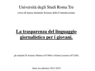 Università degli Studi Roma Tre corso di laurea triennale Scienze della Comunicazione
