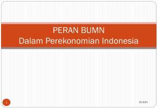 PERAN BUMN Dalam Perekonomian Indonesia