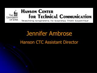 Jennifer Ambrose Hanson CTC Assistant Director