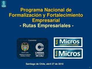 Programa Nacional de Formalizaci�n y Fortalecimiento Empresarial - Rutas Empresariales -