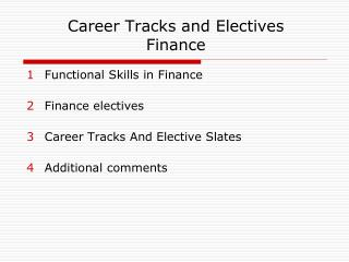 Career Tracks and Electives  Finance
