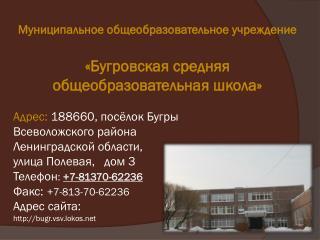 Адрес:  188660, посёлок Бугры Всеволожского района Ленинградской области, улица Полевая,   дом 3