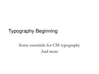 Typography Beginning