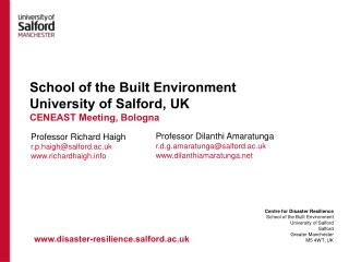 School of the Built Environment University of Salford, UK CENEAST Meeting, Bologna