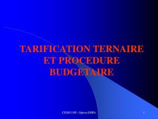 TARIFICATION TERNAIRE ET PROCEDURE BUDGETAIRE