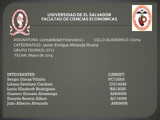 UNIVERSIDAD DE EL SALVADOR FACULTAD DE CIENCIAS  ECONOMICAS
