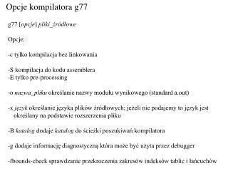 Opcje kompilatora g77