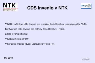 CDS Invenio v NTK